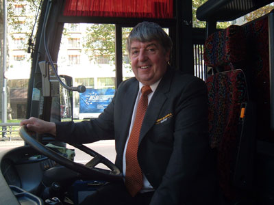 Terry Bushell in a coach